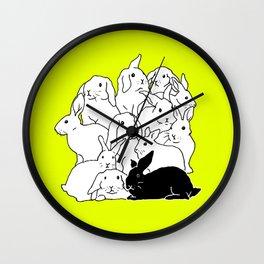 Black & White & Yellow Rabbits Wall Clock
