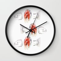 trout Wall Clocks featuring trout by singingsaw