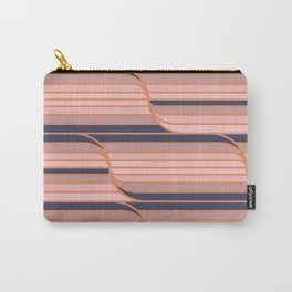 Geo Stripes - Navy & Neutral Carry-All Pouch