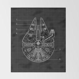 Millennium Falcon Blueprint Throw Blanket