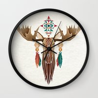 moose Wall Clocks featuring moose by Manoou