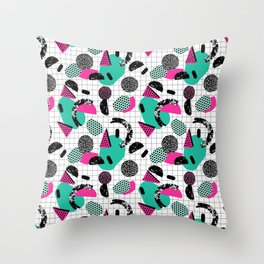Cha Ching - abstract throwback memphis retro 80s 90s pop art grid shapes Throw Pillow