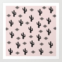 Blush Urban Cactus Art Print