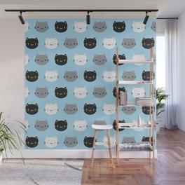 Cute Cats & Kawaii Kittens (Blue) Wall Mural