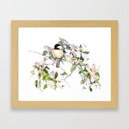 Chickadee and Dogwood Flowers Framed Art Print