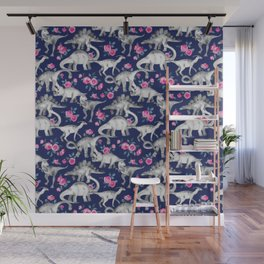 Dinosaurs and Roses on Dark Blue Purple Wall Mural
