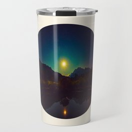 Colorful Night Sky Blue Green Purple With Mountains Travel Mug