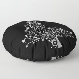 Vibrant Black and  White Christmas Tree Black Background Pattern Cutest Floor Pillow