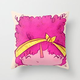 Little Square Face - Curly Girly  Throw Pillow