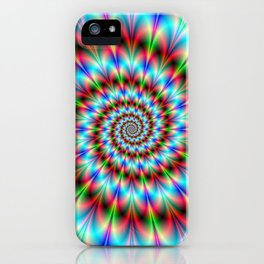 Spiral Rosette in Blue Green and Red iPhone Case