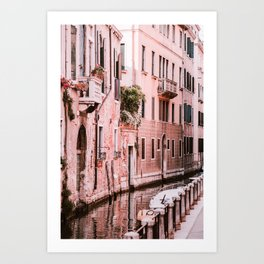 Venice pink canal with old buildings travel photography Art Print