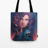 meme Tote Bags featuring MEME 015 Black Widow by mushroomtale
