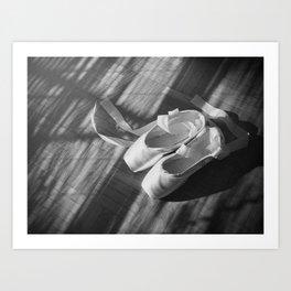 Ballet dance shoes. Black and White version. Art Print