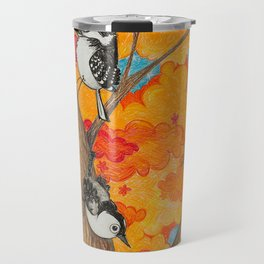 Fall: Two Nuthatches and a Downy Travel Mug