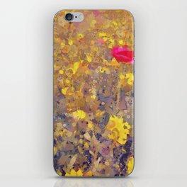 Red Poppy in Yellow Corn Marigolds iPhone Skin