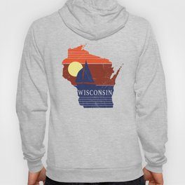 Wisconsin State WI Sailboat Sunset Print Hoody