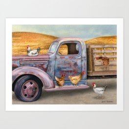 Where The Hens Gather Art Print