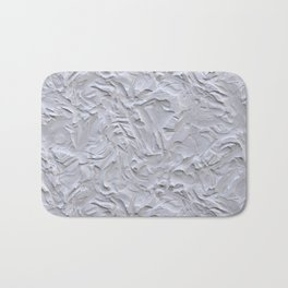 White Rough Plastering Texture Bath Mat