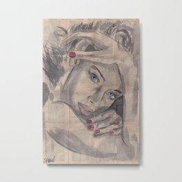 "Ink Painting ""Nelle"" Metal Print"