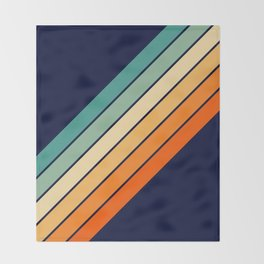 Farida - 70s Vintage Style Retro Stripes Throw Blanket