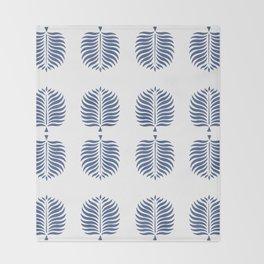 TROPICAL PALMS . WHITE + BLUE Throw Blanket