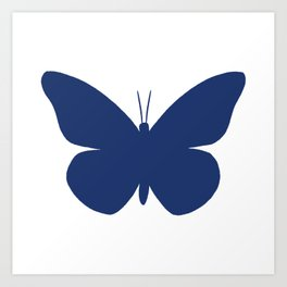 Navy Butterfly Pattern and Print Art Print