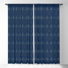 Navy Blue Art Deco Blackout Curtain