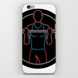 Athlete Lifting Barbell Oval Neon Sign iPhone Skin