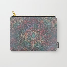 Winter Sunset Mandala in Charcoal, Mint and Melon Carry-All Pouch