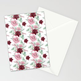 Succulents Pastel Red Pink Mint Green Pattern 2 Stationery Cards
