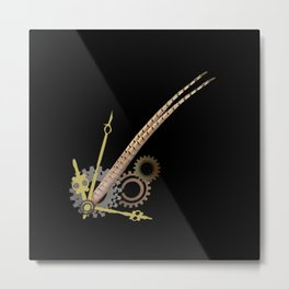 Pheasant feathers with clock parts, steampunk, mechanical Metal Print