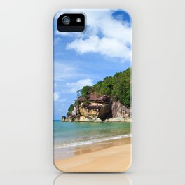 Exotic sand beach and cliffs with forest iPhone Case