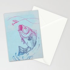 Bass jumping In Blue Circle3 Stationery Cards