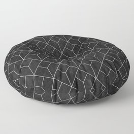 White Art Deco pattern on black ink Floor Pillow