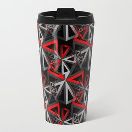 Ferris Wheel Abstract - Black, White, Gray, Red Travel Mug