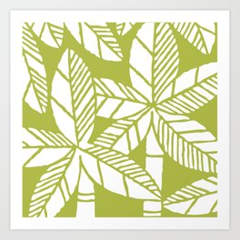 Tropical Palm Tree Composition Olive Green Art Print