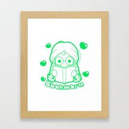 Kawaii Kiddies Cute Bookworm Framed Art Print