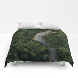 NATURE - PHOTOGRAPHY - FOREST - HIGHWAY - ROAD - TRIP - TREES Comforters
