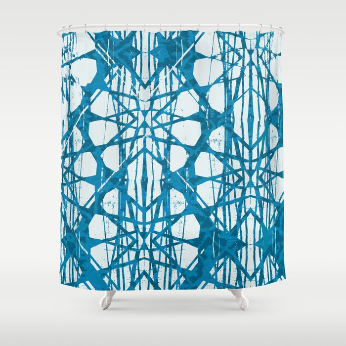 Blue And White Batik Shower Curtain By Oddduckpress