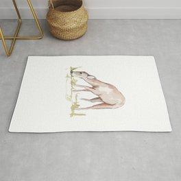 Deer Fawn Watercolor Painting Rug