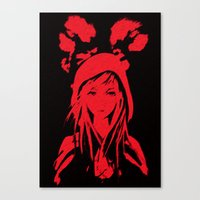 red riding hood Canvas Prints featuring Miss Red riding hood  by Sammycrafts
