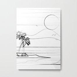 Minimal Line Palm Beach 2 Metal Print