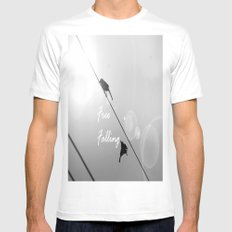 Free Falling MEDIUM White Mens Fitted Tee