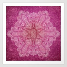 Big paisley mandala in raspberry Art Print