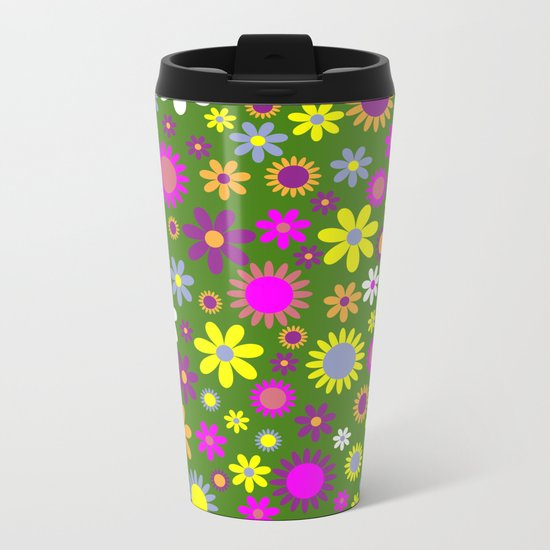 Multicolored Flower Garden Pattern Metal Travel Mug