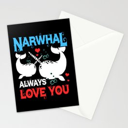 Narwhal Always Love Whale Couple Sea Unicorn Stationery Cards