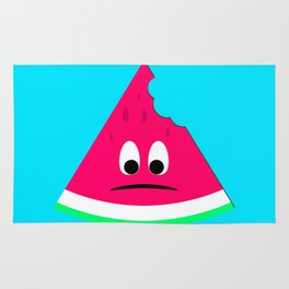 Cute sad bitten piece of watermelon Rug
