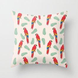 Macaw parrot tropical bird jungle animal nature pattern Throw Pillow