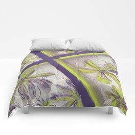 Purple green spray paint Comforters