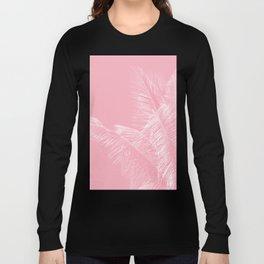 Millennial Pink illumination of Heart White Tropical Palm Hawaii Long Sleeve T-shirt